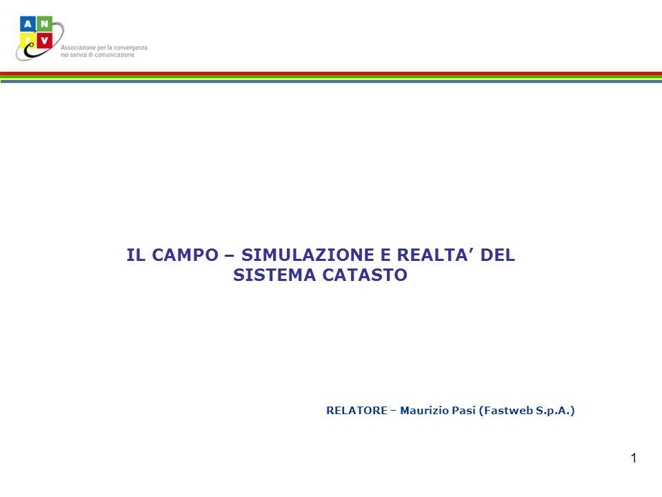 1 RELATORE – Maurizio Pasi (Fastweb S.p.A.) IL CAMPO – SIMULAZIONE E REALTA DEL SISTEMA CATASTO