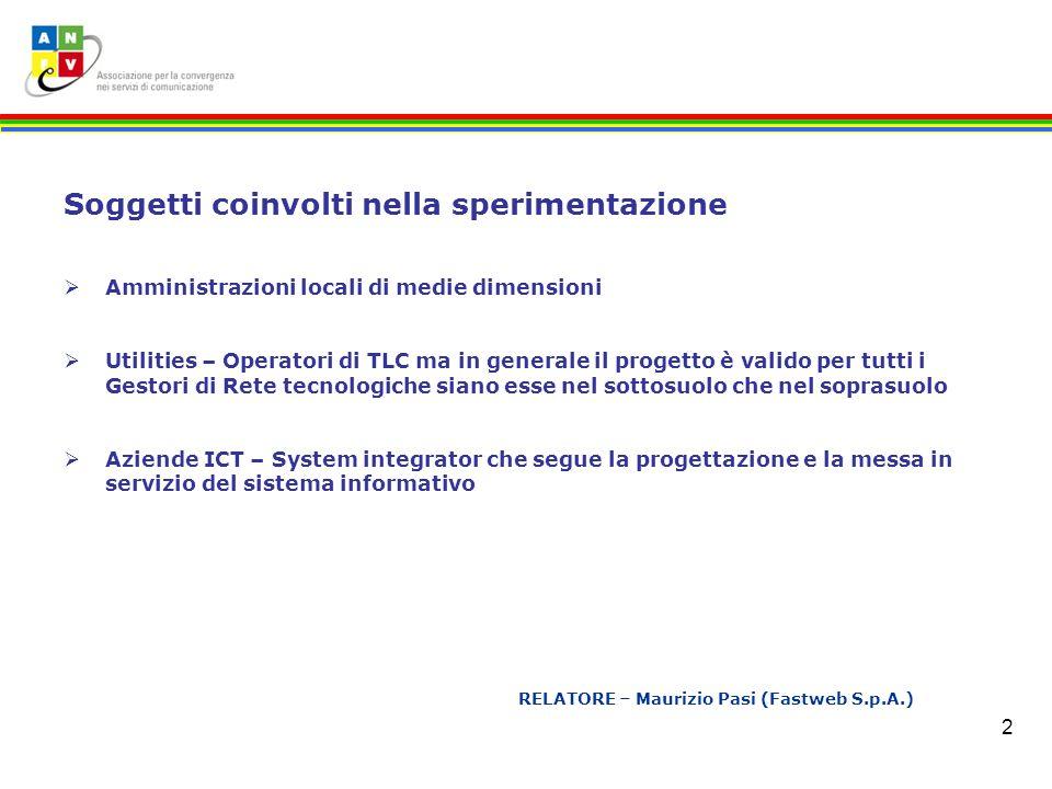 2 RELATORE – Maurizio Pasi (Fastweb S.p.A.) Soggetti coinvolti nella sperimentazione Amministrazioni locali di medie dimensioni Utilities – Operatori
