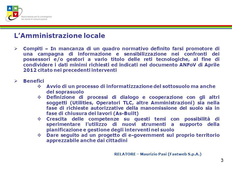 3 RELATORE – Maurizio Pasi (Fastweb S.p.A.) LAmministrazione locale Compiti – In mancanza di un quadro normativo definito farsi promotore di una campa