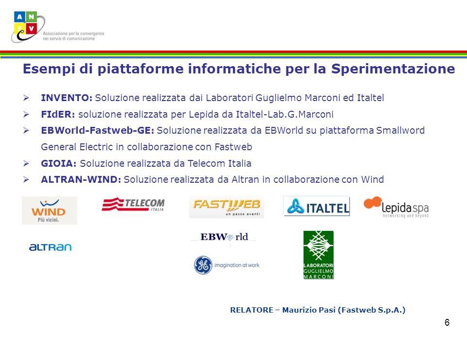 6 RELATORE – Maurizio Pasi (Fastweb S.p.A.) Esempi di piattaforme informatiche per la Sperimentazione INVENTO: Soluzione realizzata dai Laboratori Gug