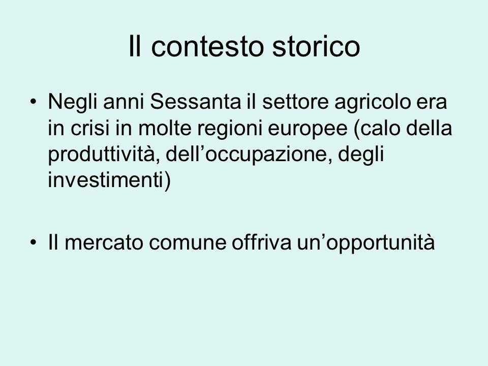 Il contesto storico Negli anni Sessanta il settore agricolo era in crisi in molte regioni europee (calo della produttività, delloccupazione, degli investimenti) Il mercato comune offriva unopportunità