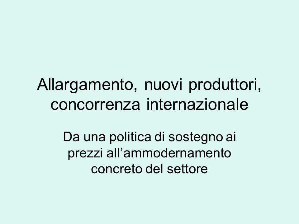 Allargamento, nuovi produttori, concorrenza internazionale Da una politica di sostegno ai prezzi allammodernamento concreto del settore