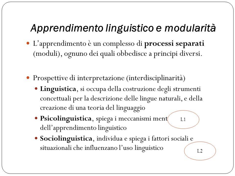 Apprendimento linguistico e modularità Lapprendimento è un complesso di processi separati (moduli), ognuno dei quali obbedisce a principi diversi. Pro