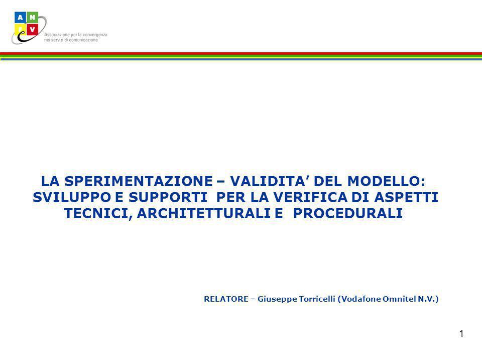 1 LA SPERIMENTAZIONE – VALIDITA DEL MODELLO: SVILUPPO E SUPPORTI PER LA VERIFICA DI ASPETTI TECNICI, ARCHITETTURALI E PROCEDURALI RELATORE – Giuseppe Torricelli (Vodafone Omnitel N.V.)
