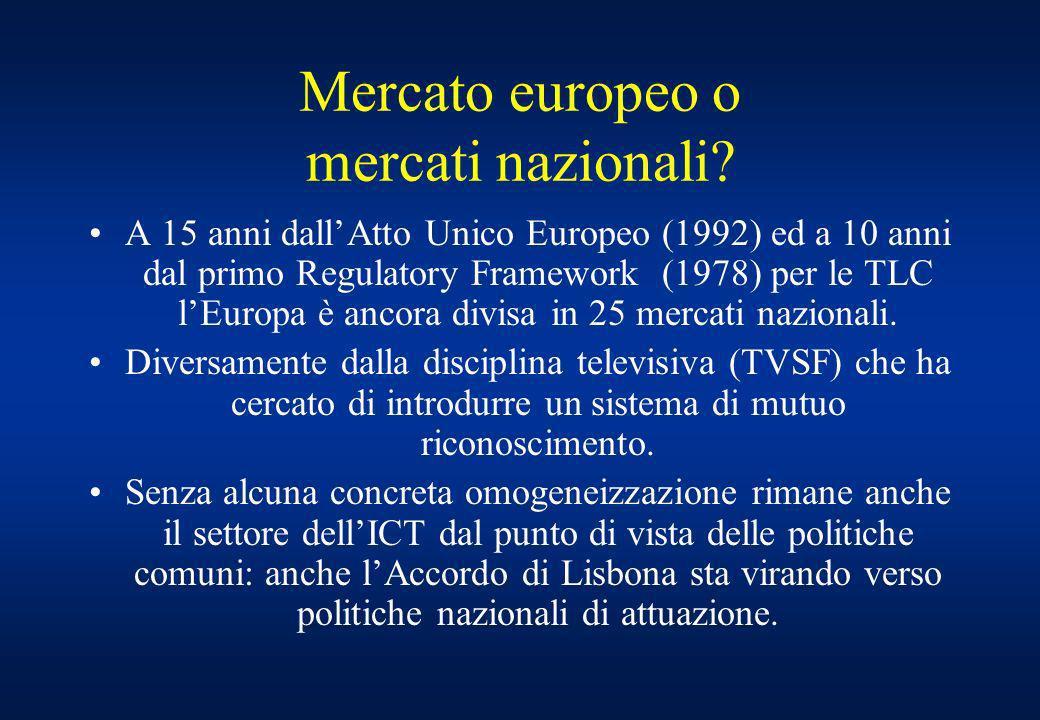 Mercato europeo o mercati nazionali.