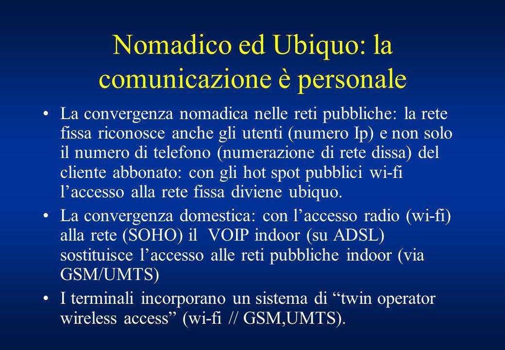 Nomadico ed Ubiquo: la comunicazione è personale La convergenza nomadica nelle reti pubbliche: la rete fissa riconosce anche gli utenti (numero Ip) e non solo il numero di telefono (numerazione di rete dissa) del cliente abbonato: con gli hot spot pubblici wi-fi laccesso alla rete fissa diviene ubiquo.