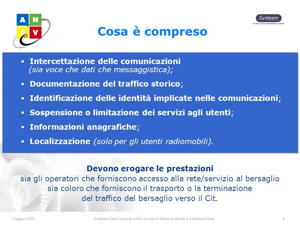Maggio 2005Systeam Italy Spa per Anfov a cura di Marco Braccioli e Andrea Allione 3 Cosa è compreso Devono erogare le prestazioni sia gli operatori che forniscono accesso alla rete/servizio al bersaglio sia coloro che forniscono il trasporto o la terminazione del traffico del bersaglio verso il Cit.