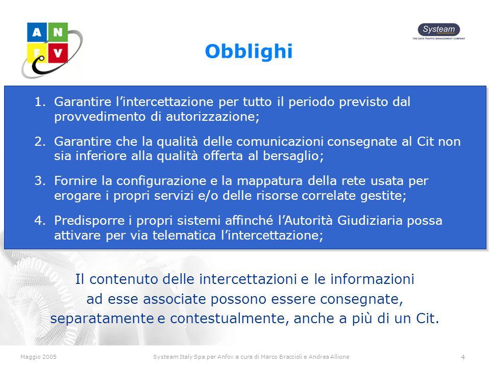 Maggio 2005Systeam Italy Spa per Anfov a cura di Marco Braccioli e Andrea Allione 4 Obblighi Il contenuto delle intercettazioni e le informazioni ad esse associate possono essere consegnate, separatamente e contestualmente, anche a più di un Cit.