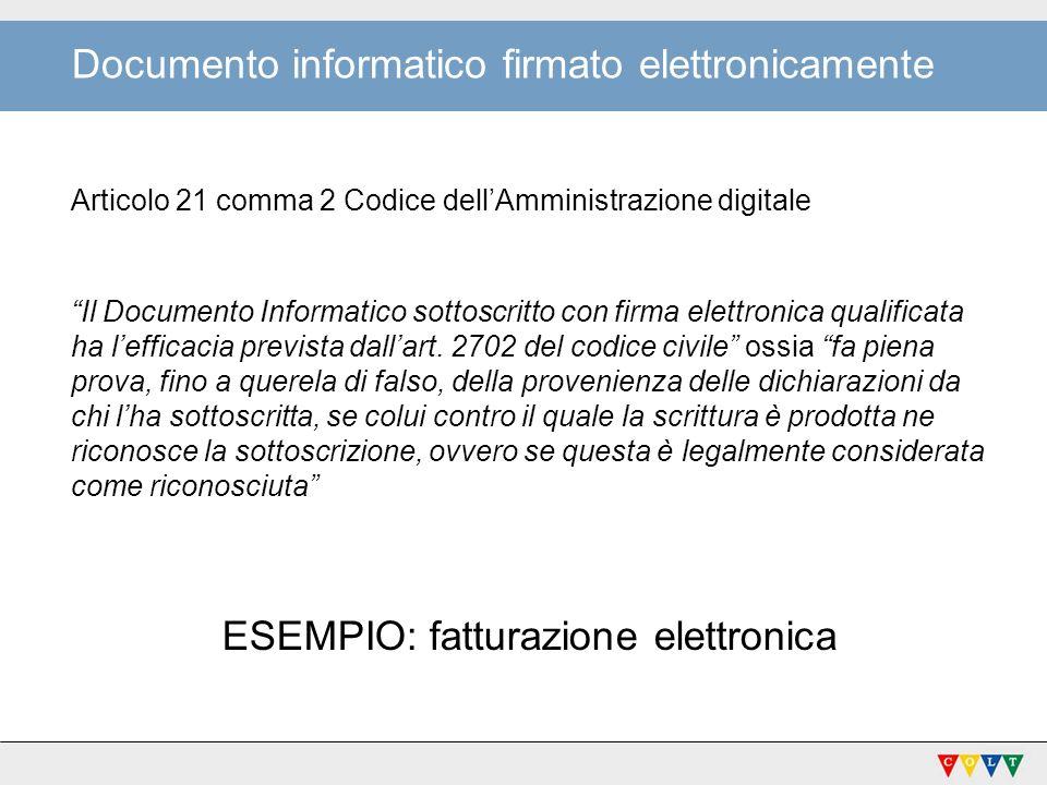 Documento informatico firmato elettronicamente Articolo 21 comma 2 Codice dellAmministrazione digitale Il Documento Informatico sottoscritto con firma elettronica qualificata ha lefficacia prevista dallart.
