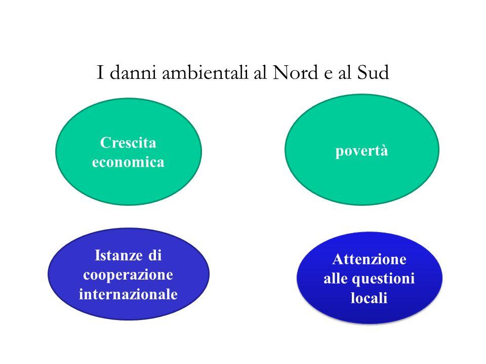 I danni ambientali al Nord e al Sud Crescita economica povertà Istanze di cooperazione internazionale Attenzione alle questioni locali