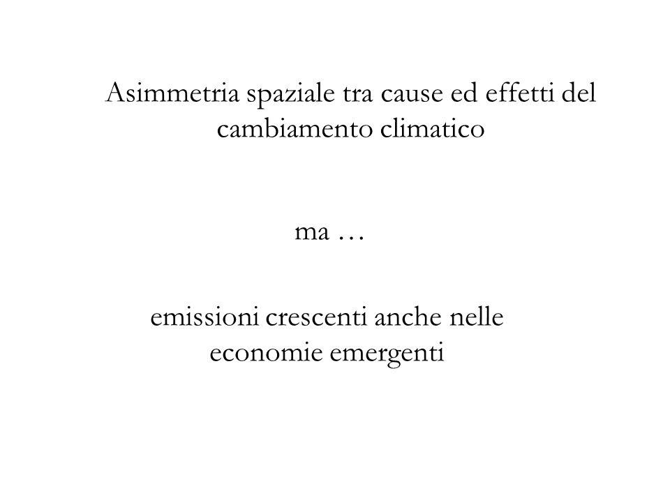 Asimmetria spaziale tra cause ed effetti del cambiamento climatico ma … emissioni crescenti anche nelle economie emergenti