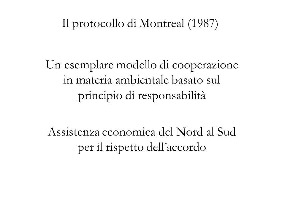 Il protocollo di Montreal (1987) Un esemplare modello di cooperazione in materia ambientale basato sul principio di responsabilità Assistenza economica del Nord al Sud per il rispetto dellaccordo