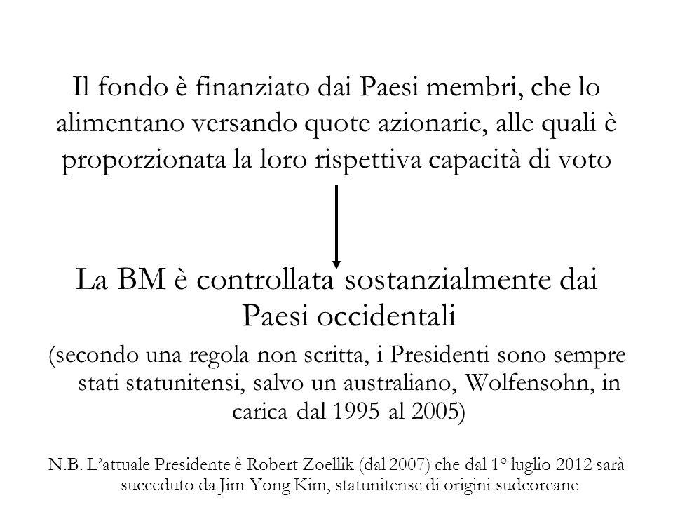 Il fondo è finanziato dai Paesi membri, che lo alimentano versando quote azionarie, alle quali è proporzionata la loro rispettiva capacità di voto La BM è controllata sostanzialmente dai Paesi occidentali (secondo una regola non scritta, i Presidenti sono sempre stati statunitensi, salvo un australiano, Wolfensohn, in carica dal 1995 al 2005) N.B.