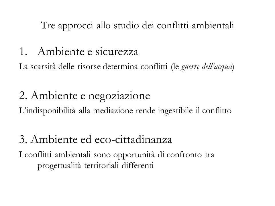 Tre approcci allo studio dei conflitti ambientali 1.Ambiente e sicurezza La scarsità delle risorse determina conflitti (le guerre dellacqua) 2.