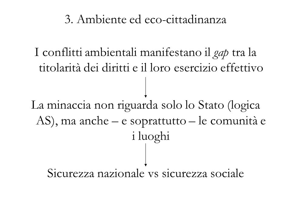 3. Ambiente ed eco-cittadinanza I conflitti ambientali manifestano il gap tra la titolarità dei diritti e il loro esercizio effettivo La minaccia non