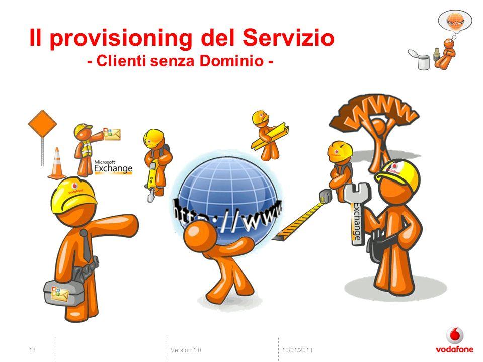 Version 1.01810/01/2011 Il provisioning del Servizio - Clienti senza Dominio -