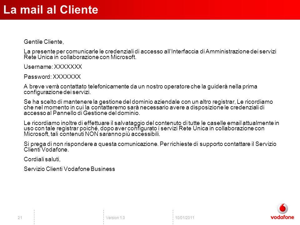 Version 1.02110/01/2011 Gentile Cliente, La presente per comunicarle le credenziali di accesso allInterfaccia di Amministrazione dei servizi Rete Unica in collaborazione con Microsoft.