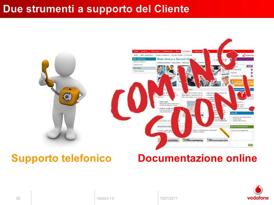 Version 1.02610/01/2011 Due strumenti a supporto del Cliente Supporto telefonicoDocumentazione online
