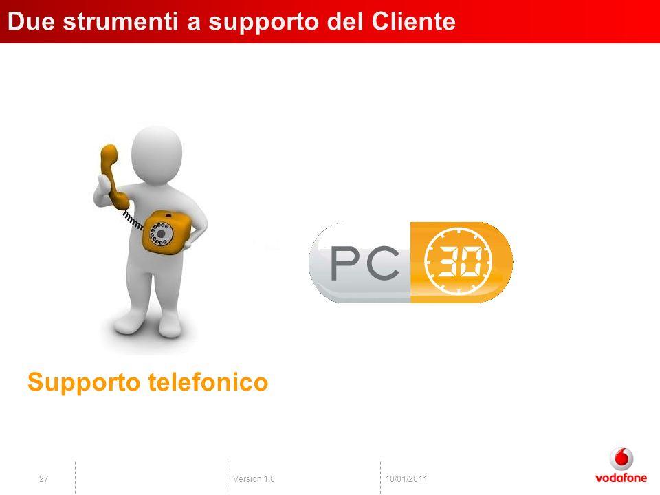 Version 1.02710/01/2011 Due strumenti a supporto del Cliente Supporto telefonico