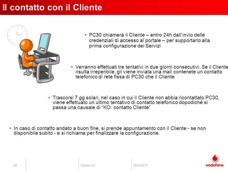 Version 1.02810/01/2011 PC30 chiamerà il Cliente – entro 24h dallinvio delle credenziali di accesso al portale – per supportarlo alla prima configurazione dei Servizi Il contatto con il Cliente In caso di contatto andato a buon fine, si prende appuntamento con il Cliente - se non disponibile subito - e si richiama per finalizzare la configurazione.