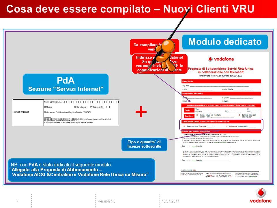 Version 1.0810/01/2011 Come compilare i moduli – Nuovi Clienti VRU Scenario A Nuovo Dominio PdA Sezione Servizi Internet