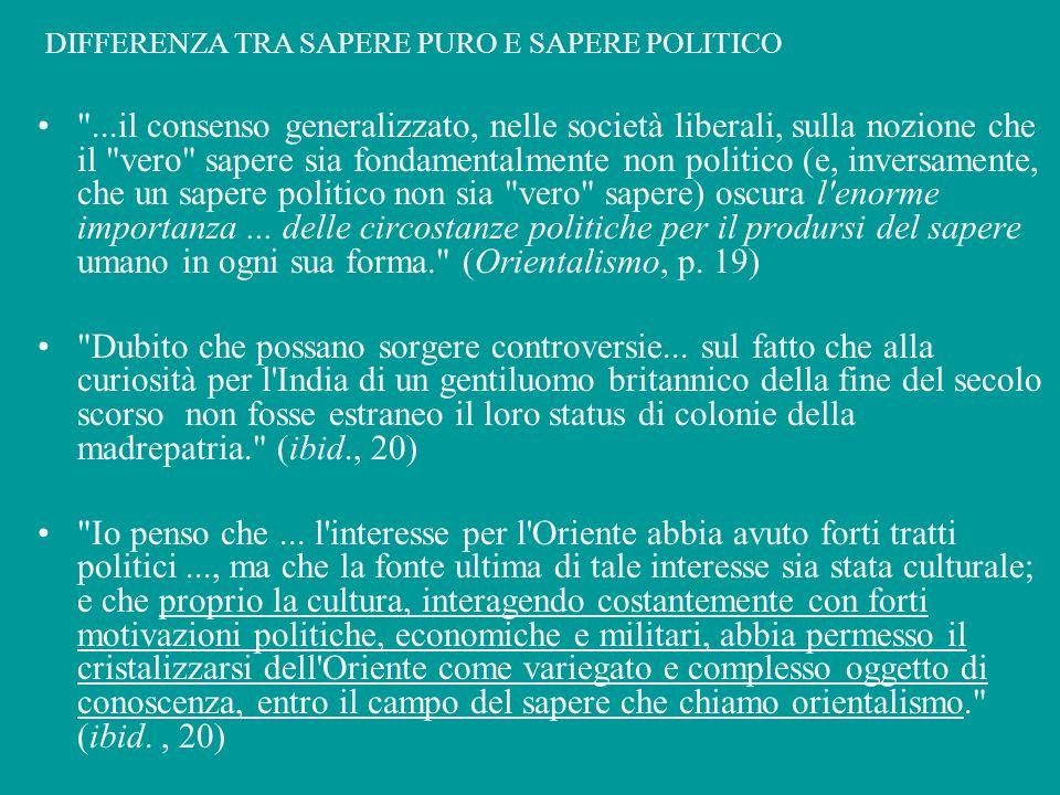 DIFFERENZA TRA SAPERE PURO E SAPERE POLITICO