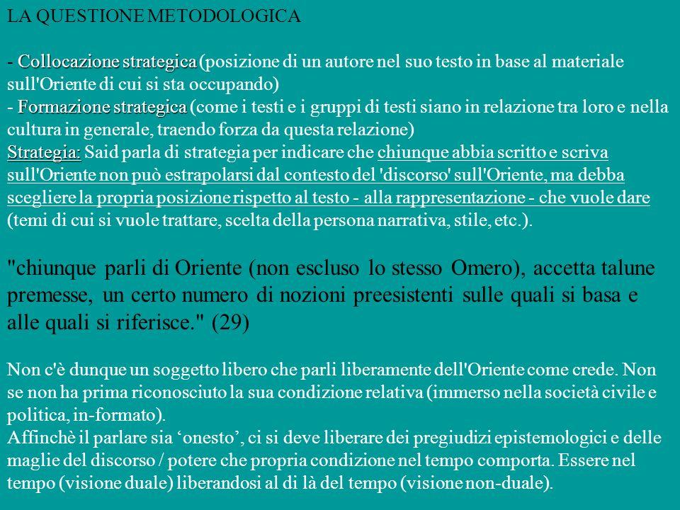LA QUESTIONE METODOLOGICA Collocazione strategica - Collocazione strategica (posizione di un autore nel suo testo in base al materiale sull'Oriente di