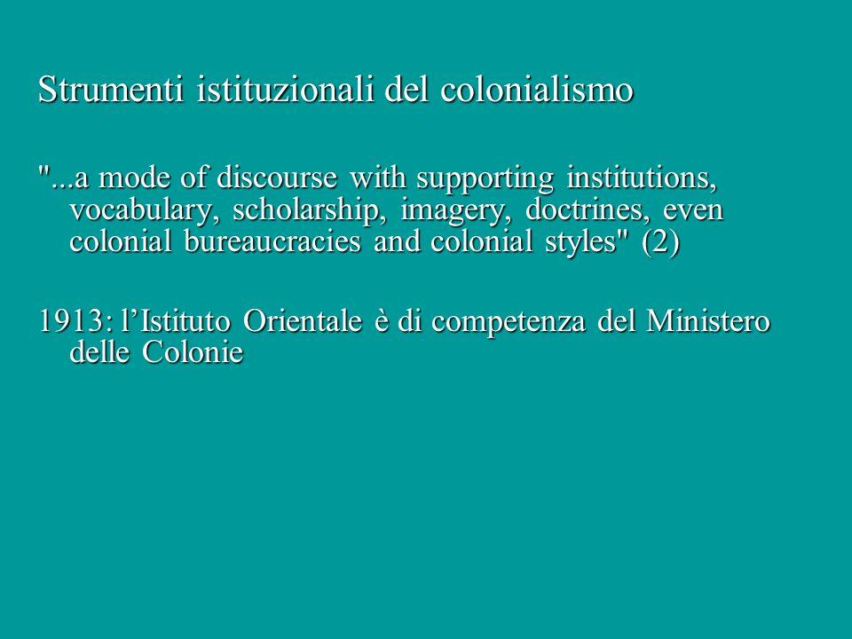 Strumenti istituzionali del colonialismo