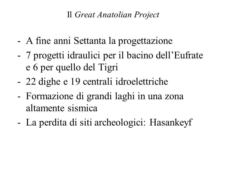 Il Great Anatolian Project -A fine anni Settanta la progettazione -7 progetti idraulici per il bacino dellEufrate e 6 per quello del Tigri -22 dighe e