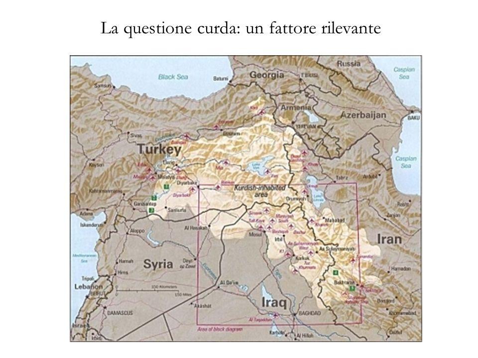 Una geopolitica del GAP -Sviluppo economico di unarea depressa (esportazione di beni agricoli) -Sradicamento della comunità curda del Sud- Est -Egemonia regionale