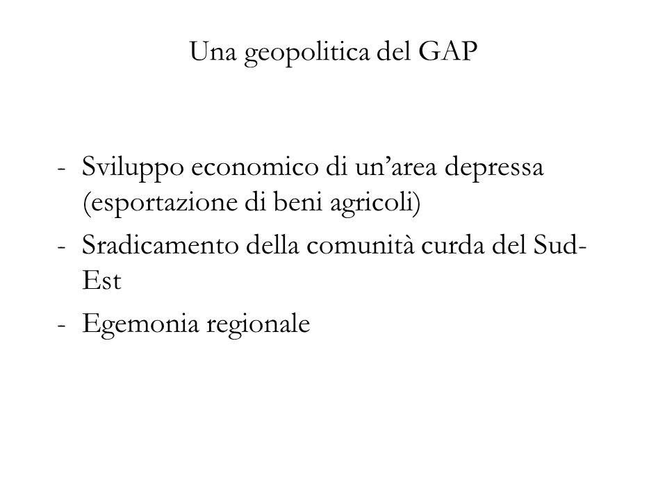 Una geopolitica del GAP -Sviluppo economico di unarea depressa (esportazione di beni agricoli) -Sradicamento della comunità curda del Sud- Est -Egemon