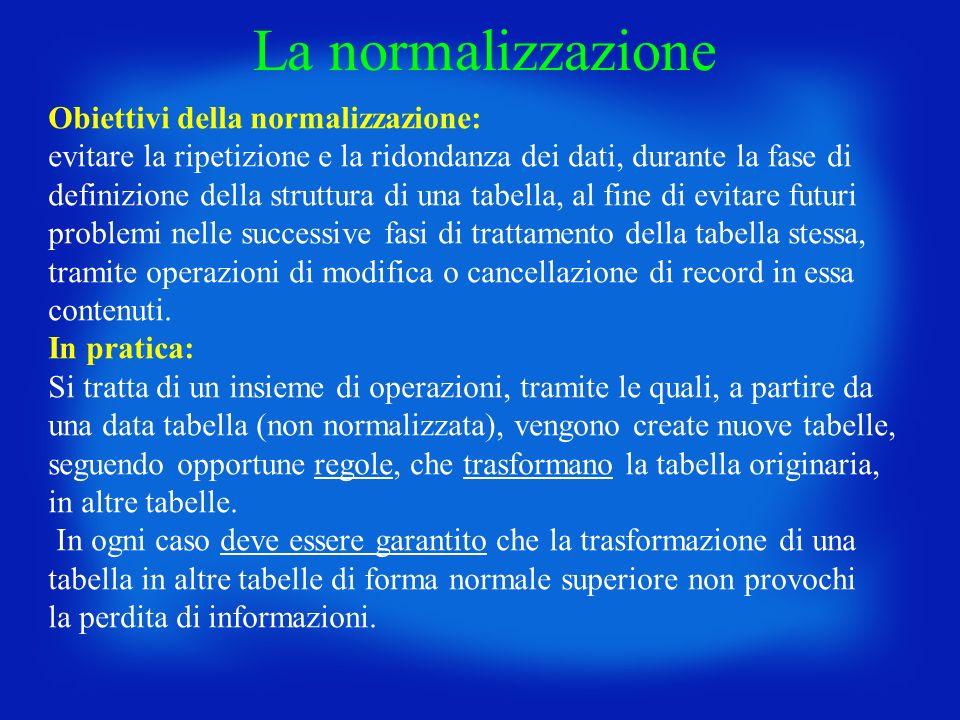 La normalizzazione Obiettivi della normalizzazione: evitare la ripetizione e la ridondanza dei dati, durante la fase di definizione della struttura di