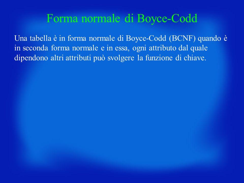 Forma normale di Boyce-Codd Una tabella è in forma normale di Boyce-Codd (BCNF) quando è in seconda forma normale e in essa, ogni attributo dal quale