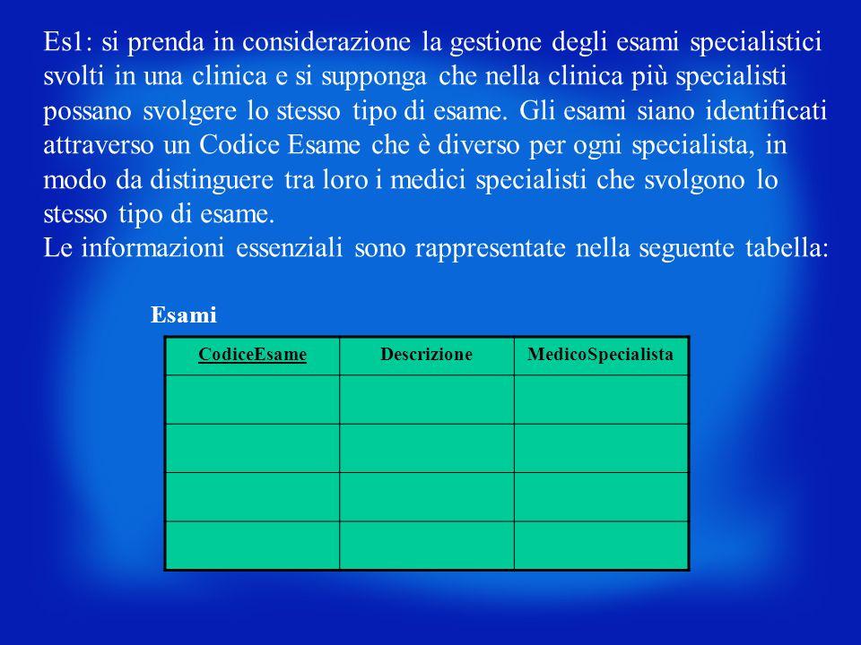 Es1: si prenda in considerazione la gestione degli esami specialistici svolti in una clinica e si supponga che nella clinica più specialisti possano s