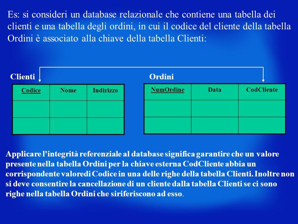 Es: si consideri un database relazionale che contiene una tabella dei clienti e una tabella degli ordini, in cui il codice del cliente della tabella O