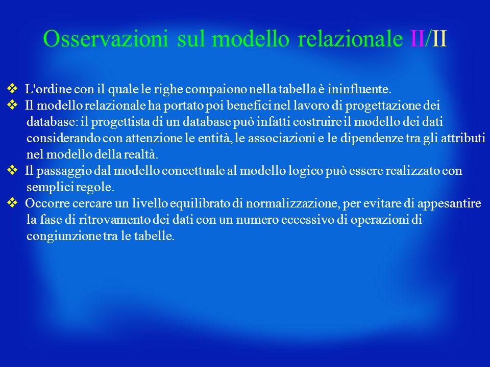 Osservazioni sul modello relazionale II/II L'ordine con il quale le righe compaiono nella tabella è ininfluente. Il modello relazionale ha portato poi