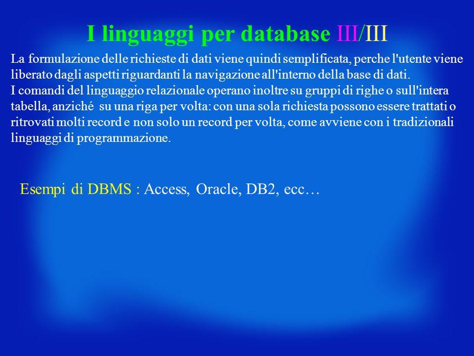 La formulazione delle richieste di dati viene quindi semplificata, perche l'utente viene liberato dagli aspetti riguardanti la navigazione all'interno