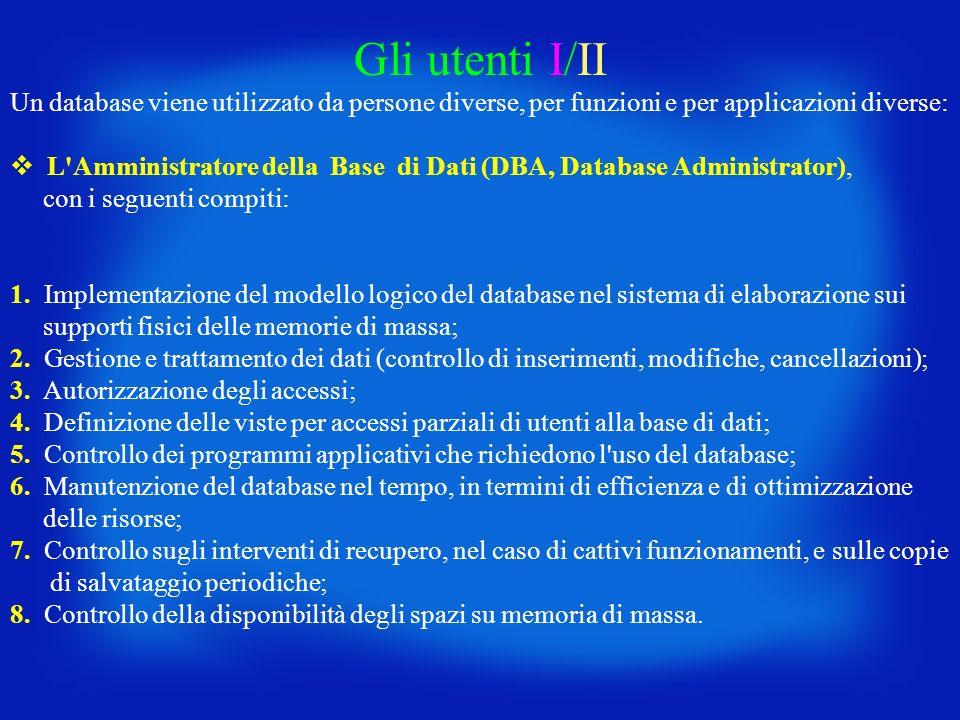 Gli utenti I/II Un database viene utilizzato da persone diverse, per funzioni e per applicazioni diverse: L'Amministratore della Base di Dati (DBA, Da