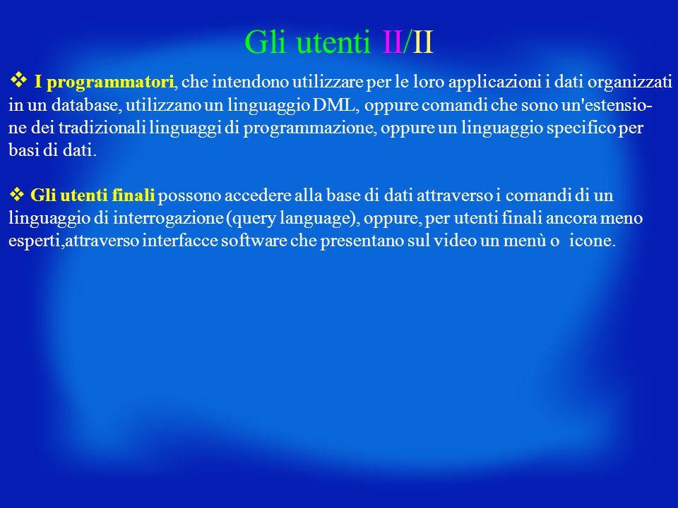 Gli utenti II/II I programmatori, che intendono utilizzare per le loro applicazioni i dati organizzati in un database, utilizzano un linguaggio DML, o