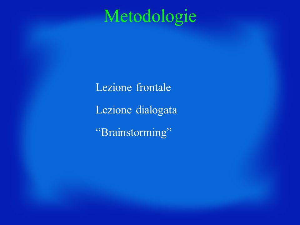 Metodologie Lezione frontale Lezione dialogata Brainstorming
