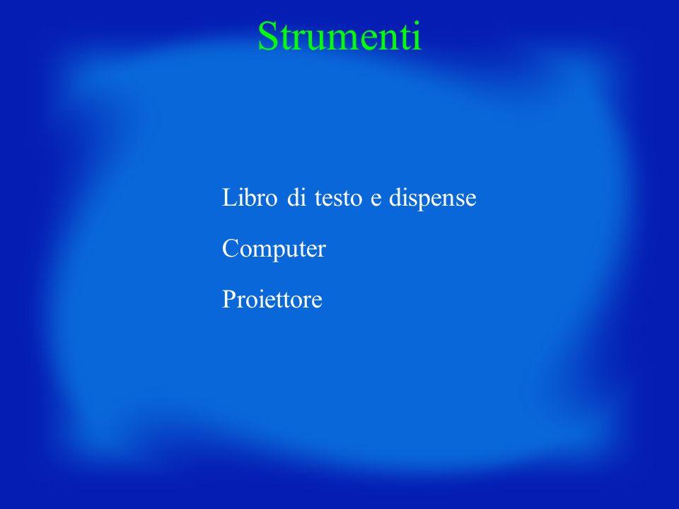 Strumenti Libro di testo e dispense Computer Proiettore
