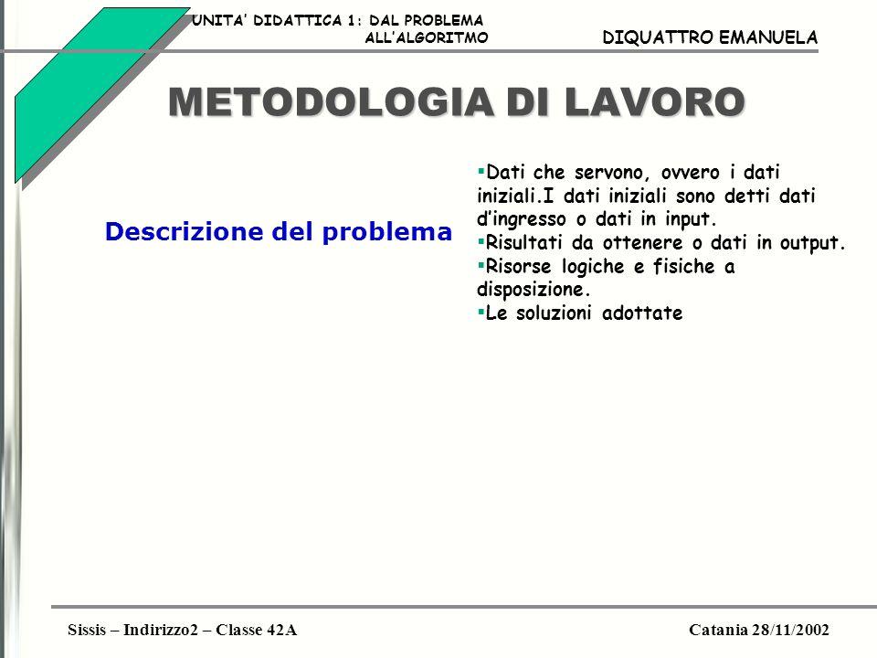 Sissis – Indirizzo2 – Classe 42ACatania 28/11/2002 DIQUATTRO EMANUELA METODOLOGIA DI LAVORO Lindividuazione di questi elementi costituisce lanalisi del problema.