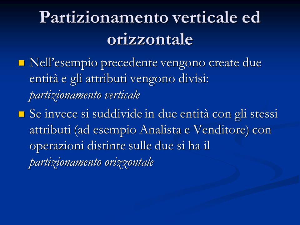 Partizionamento verticale ed orizzontale Nellesempio precedente vengono create due entità e gli attributi vengono divisi: partizionamento verticale Ne