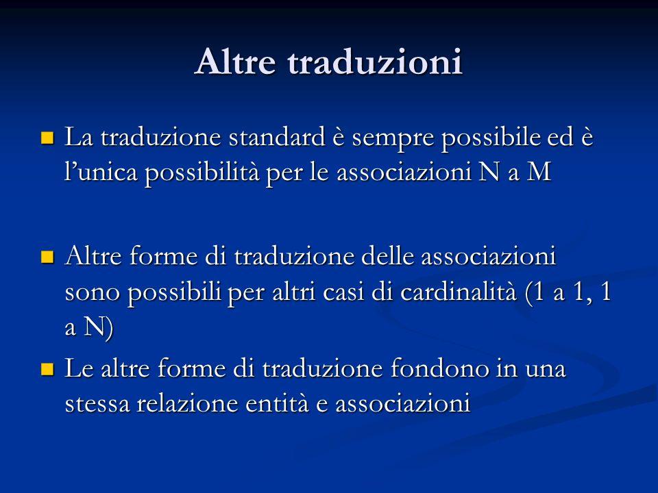 Altre traduzioni La traduzione standard è sempre possibile ed è lunica possibilità per le associazioni N a M La traduzione standard è sempre possibile