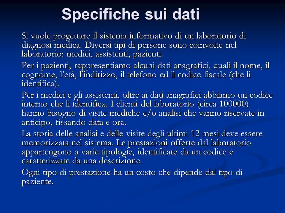 Specifiche sui dati Si vuole progettare il sistema informativo di un laboratorio di diagnosi medica. Diversi tipi di persone sono coinvolte nel labora