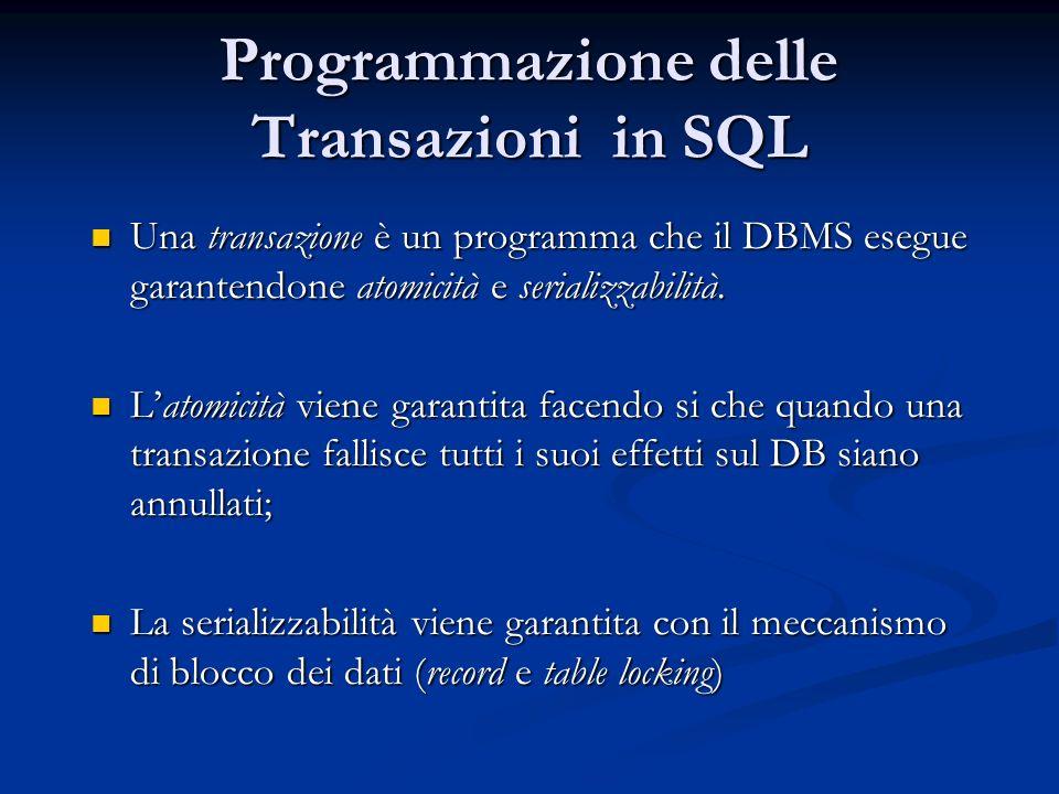 Programmazione delle Transazioni in SQL Una transazione è un programma che il DBMS esegue garantendone atomicità e serializzabilità.