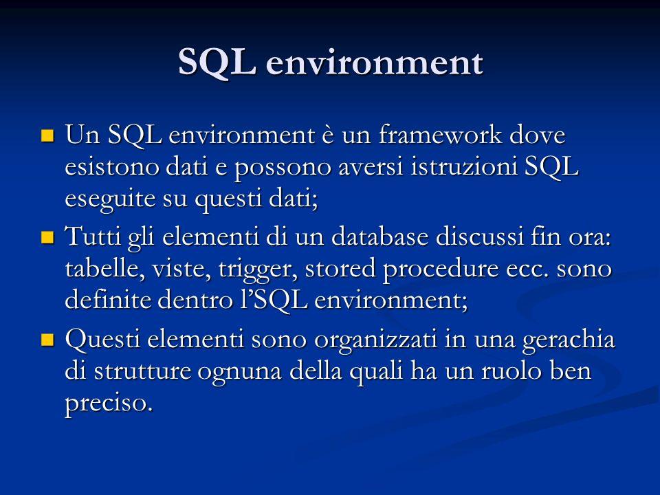 SQL environment Un SQL environment è un framework dove esistono dati e possono aversi istruzioni SQL eseguite su questi dati; Un SQL environment è un framework dove esistono dati e possono aversi istruzioni SQL eseguite su questi dati; Tutti gli elementi di un database discussi fin ora: tabelle, viste, trigger, stored procedure ecc.