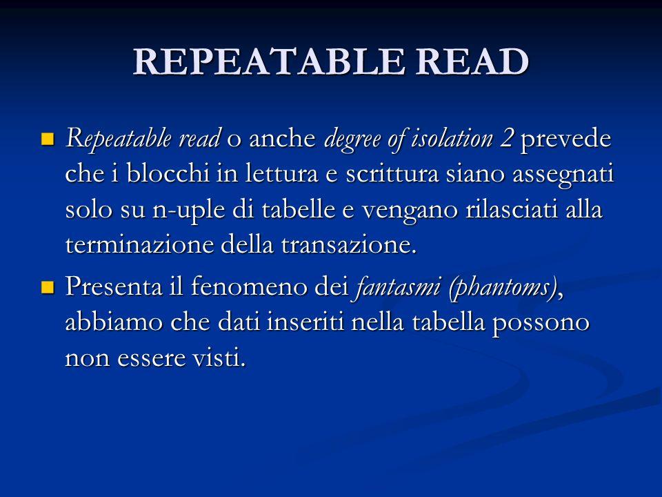 REPEATABLE READ Repeatable read o anche degree of isolation 2 prevede che i blocchi in lettura e scrittura siano assegnati solo su n-uple di tabelle e vengano rilasciati alla terminazione della transazione.