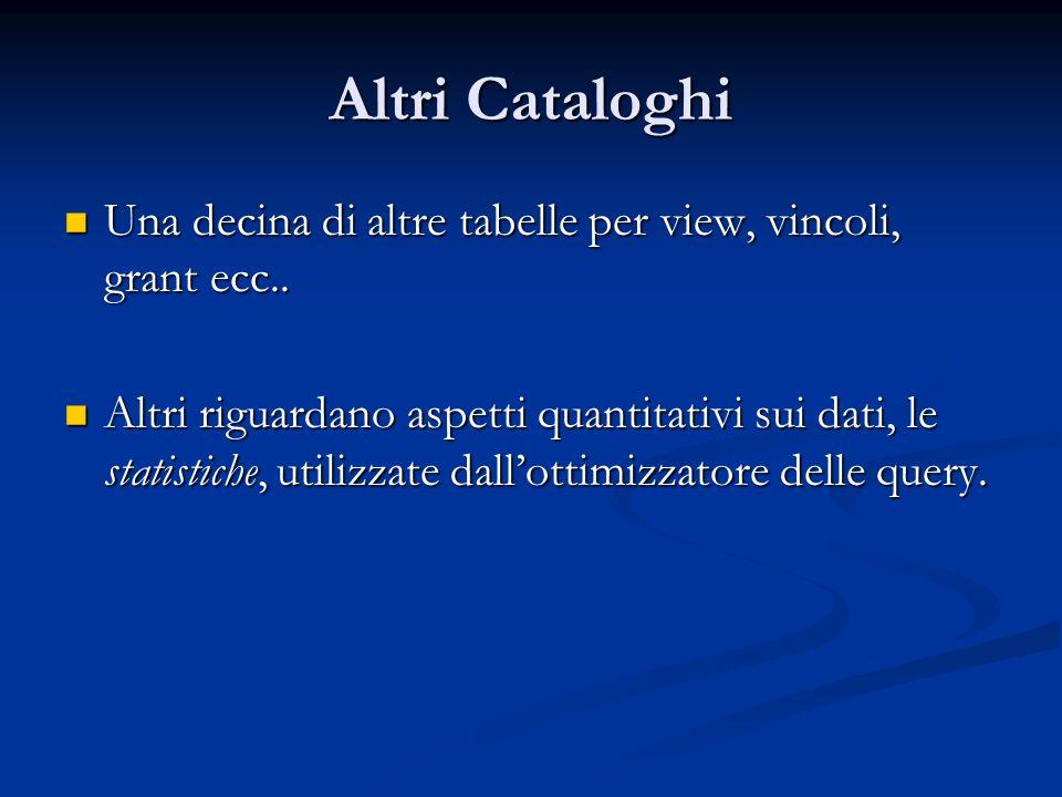 Altri Cataloghi Una decina di altre tabelle per view, vincoli, grant ecc..