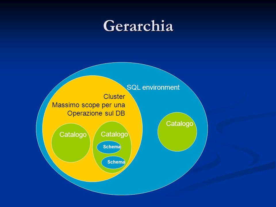 Gerarchia SQL environment Cluster Massimo scope per una Operazione sul DB Catalogo Schema Catalogo